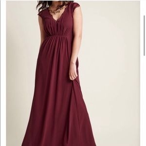 ModCloth Burgundy Wine Formal Floor length dress